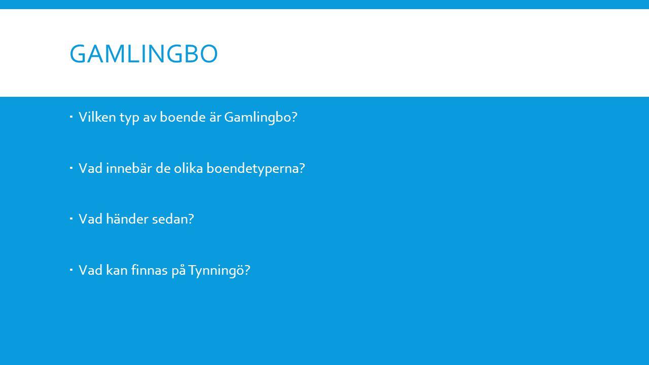 GAMLINGBO  Vilken typ av boende är Gamlingbo.  Vad innebär de olika boendetyperna.