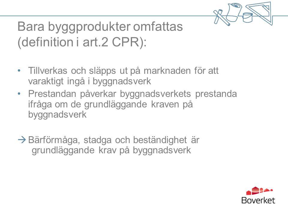 Bara byggprodukter omfattas (definition i art.2 CPR): Tillverkas och släpps ut på marknaden för att varaktigt ingå i byggnadsverk Prestandan påverkar