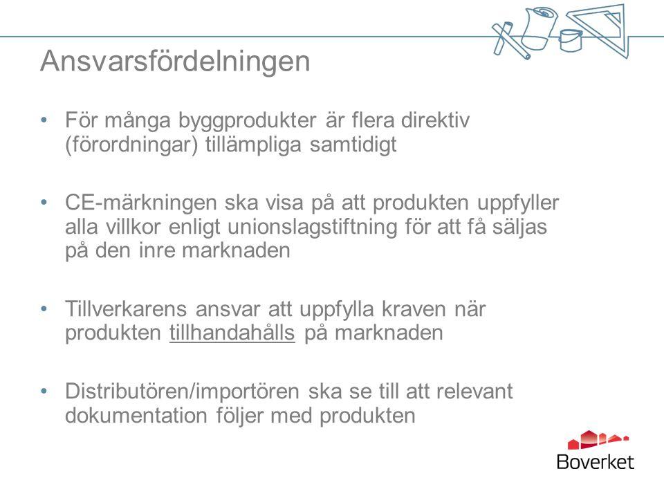 Ansvarsfördelningen För många byggprodukter är flera direktiv (förordningar) tillämpliga samtidigt CE-märkningen ska visa på att produkten uppfyller a