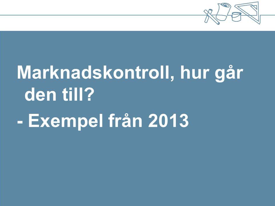 Marknadskontroll, hur går den till? - Exempel från 2013