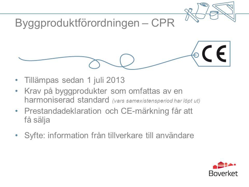 Byggproduktförordningen – CPR Tillämpas sedan 1 juli 2013 Krav på byggprodukter som omfattas av en harmoniserad standard (vars samexistensperiod har l