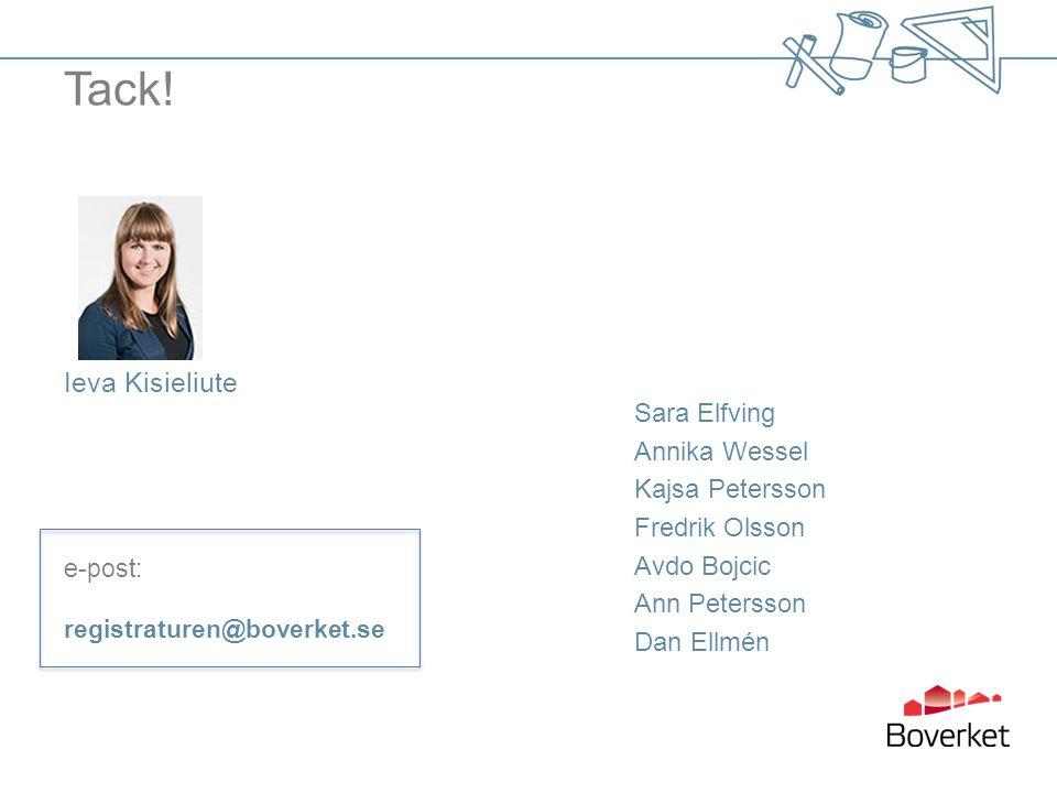Tack! Ieva Kisieliute e-post: registraturen@boverket.se Sara Elfving Annika Wessel Kajsa Petersson Fredrik Olsson Avdo Bojcic Ann Petersson Dan Ellmén