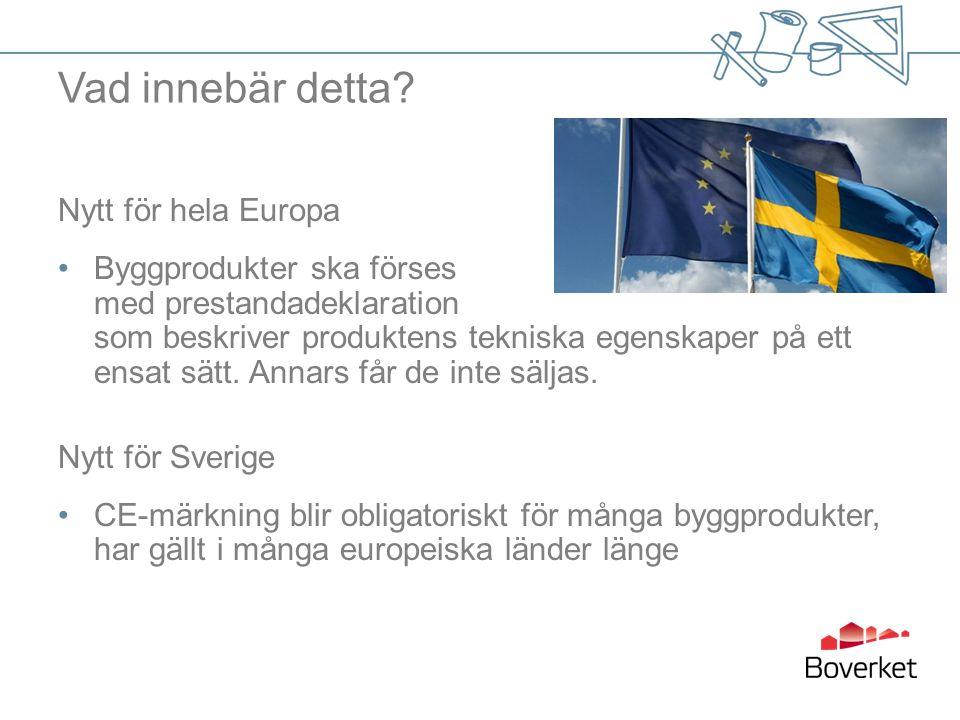 Vad innebär detta? Nytt för hela Europa Byggprodukter ska förses med prestandadeklaration som beskriver produktens tekniska egenskaper på ett ensat sä