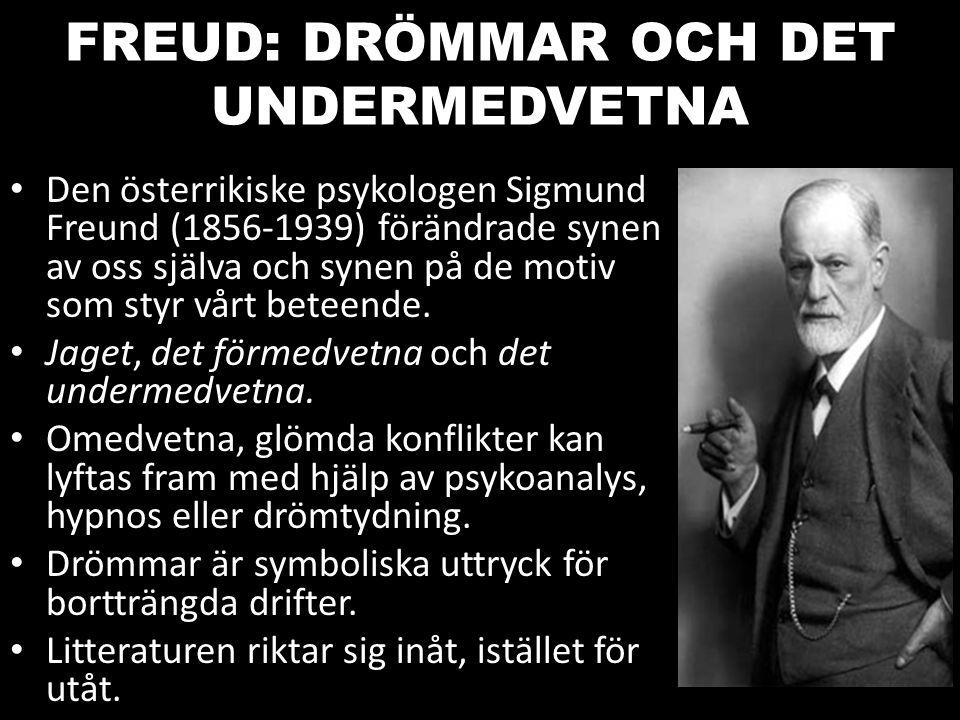 FREUD: DRÖMMAR OCH DET UNDERMEDVETNA Den österrikiske psykologen Sigmund Freund (1856-1939) förändrade synen av oss själva och synen på de motiv som s