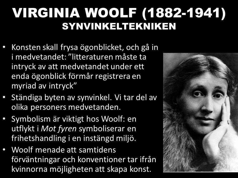 """VIRGINIA WOOLF (1882-1941) SYNVINKELTEKNIKEN Konsten skall frysa ögonblicket, och gå in i medvetandet: """"litteraturen måste ta intryck av att medvetand"""