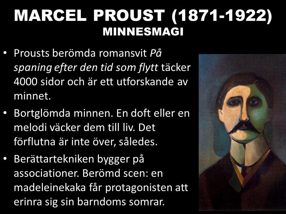 MARCEL PROUST (1871-1922) MINNESMAGI Prousts berömda romansvit På spaning efter den tid som flytt täcker 4000 sidor och är ett utforskande av minnet.