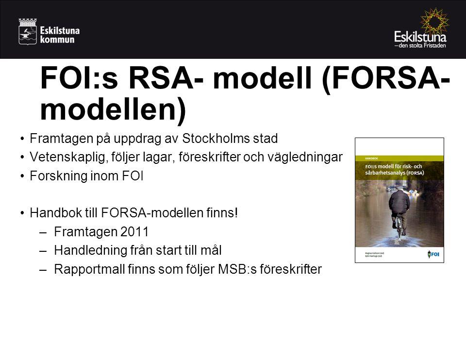 FOI:s RSA- modell (FORSA- modellen) Framtagen på uppdrag av Stockholms stad Vetenskaplig, följer lagar, föreskrifter och vägledningar Forskning inom F