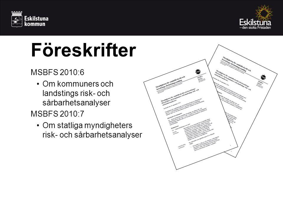 Föreskrifter MSBFS 2010:6 Om kommuners och landstings risk- och sårbarhetsanalyser MSBFS 2010:7 Om statliga myndigheters risk- och sårbarhetsanalyser
