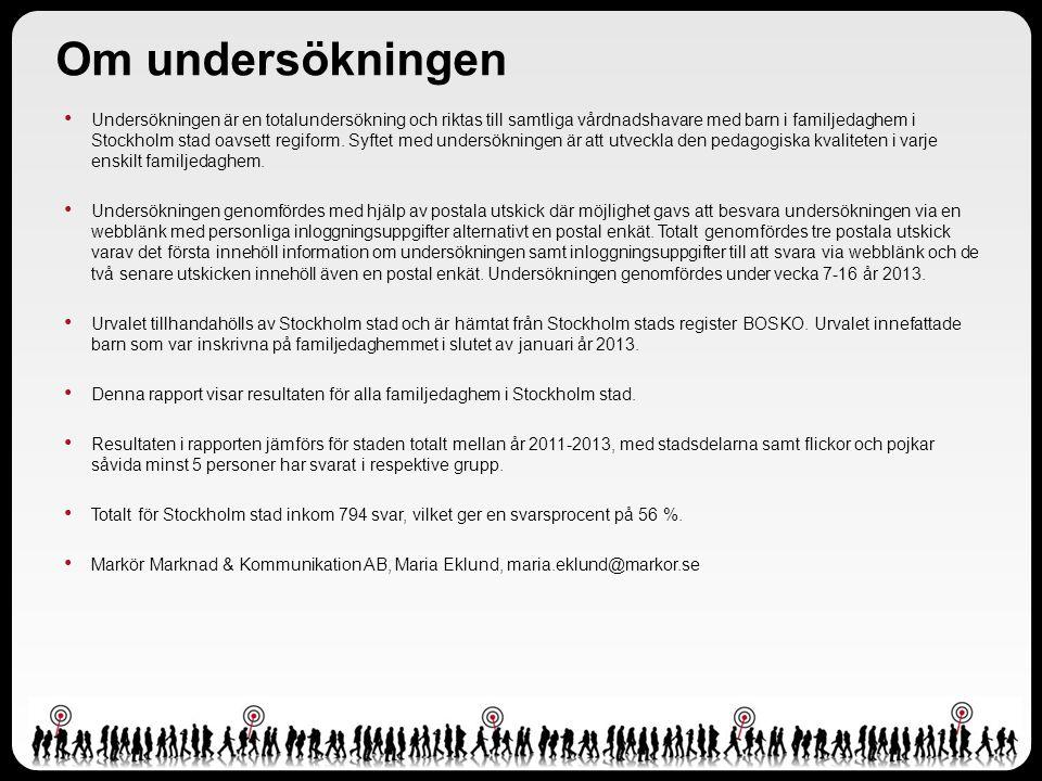 Om undersökningen Undersökningen är en totalundersökning och riktas till samtliga vårdnadshavare med barn i familjedaghem i Stockholm stad oavsett regiform.