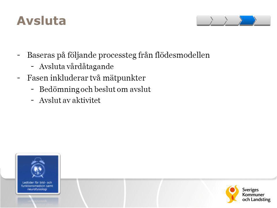 Avsluta - Baseras på följande processteg från flödesmodellen - Avsluta vårdåtagande - Fasen inkluderar två mätpunkter - Bedömning och beslut om avslut