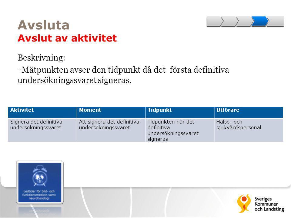 Avsluta Avslut av aktivitet Beskrivning: - Mätpunkten avser den tidpunkt då det första definitiva undersökningssvaret signeras. AktivitetMomentTidpunk