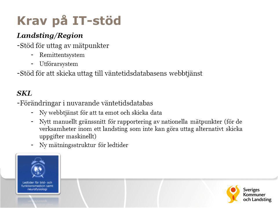 Krav på IT-stöd Landsting/Region - Stöd för uttag av mätpunkter - Remittentsystem - Utförarsystem - Stöd för att skicka uttag till väntetidsdatabasens