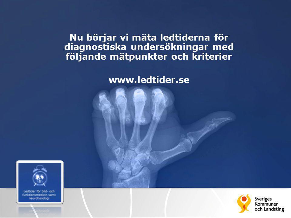 Nu börjar vi mäta ledtiderna för diagnostiska undersökningar med följande mätpunkter och kriterier www.ledtider.se