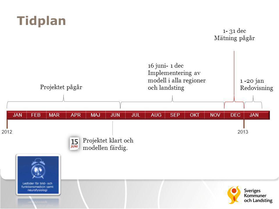 Tidplan 2013 1 -20 jan Redovisning Projektet klart och modellen färdig. 16 juni- 1 dec Implementering av modell i alla regioner och landsting 1- 31 de