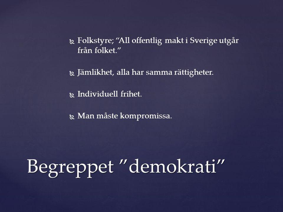 """  Folkstyre; """"All offentlig makt i Sverige utgår från folket.""""   Jämlikhet, alla har samma rättigheter.   Individuell frihet.   Man måste komp"""