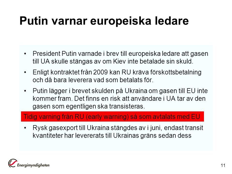 Putin varnar europeiska ledare President Putin varnade i brev till europeiska ledare att gasen till UA skulle stängas av om Kiev inte betalade sin sku
