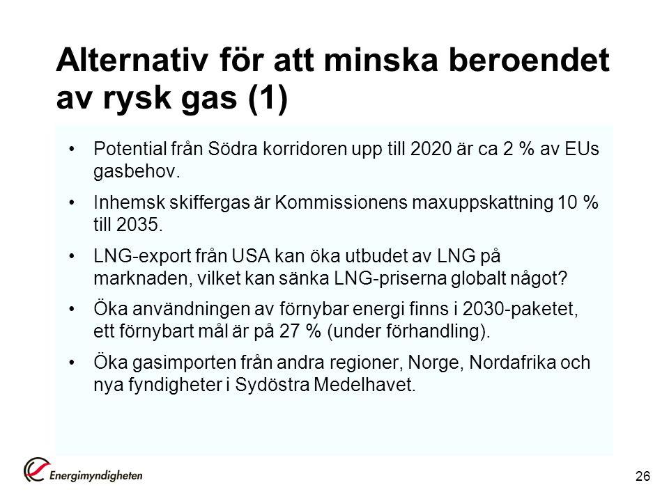 Alternativ för att minska beroendet av rysk gas (1) Potential från Södra korridoren upp till 2020 är ca 2 % av EUs gasbehov. Inhemsk skiffergas är Kom