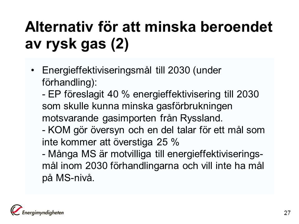 Alternativ för att minska beroendet av rysk gas (2) Energieffektiviseringsmål till 2030 (under förhandling): - EP föreslagit 40 % energieffektiviserin