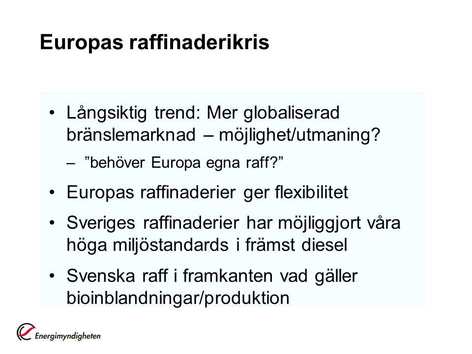 """Europas raffinaderikris Långsiktig trend: Mer globaliserad bränslemarknad – möjlighet/utmaning? –""""behöver Europa egna raff?"""" Europas raffinaderier ger"""