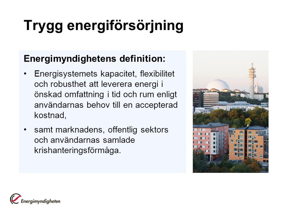 Trygg energiförsörjning Energimyndighetens definition: Energisystemets kapacitet, flexibilitet och robusthet att leverera energi i önskad omfattning i