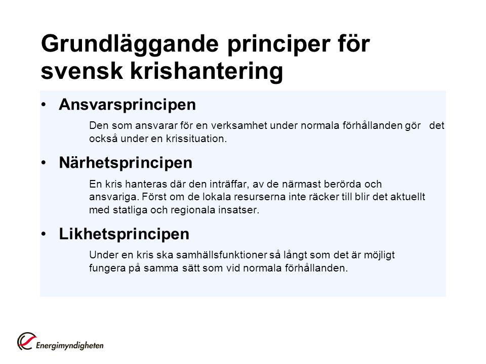 Grundläggande principer för svensk krishantering Ansvarsprincipen Den som ansvarar för en verksamhet under normala förhållanden gör det också under en