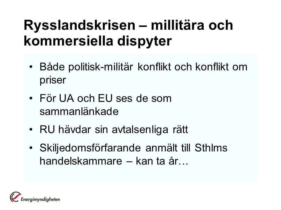 Rysslandskrisen – millitära och kommersiella dispyter Både politisk-militär konflikt och konflikt om priser För UA och EU ses de som sammanlänkade RU