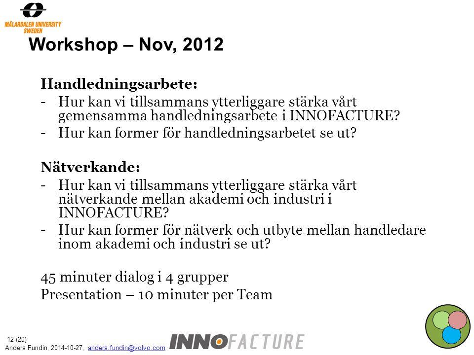 Workshop – Nov, 2012 Handledningsarbete: -Hur kan vi tillsammans ytterliggare stärka vårt gemensamma handledningsarbete i INNOFACTURE? -Hur kan former
