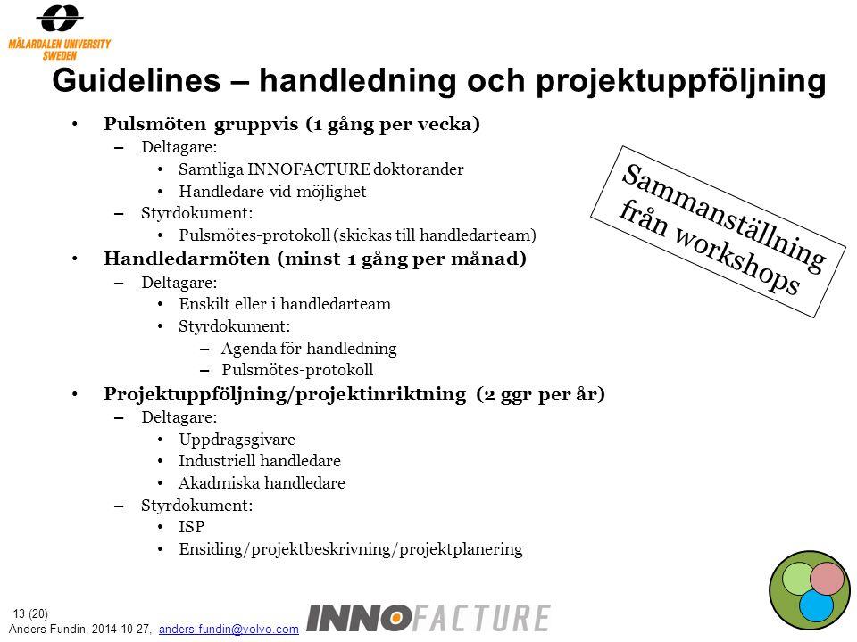 Guidelines – handledning och projektuppföljning Pulsmöten gruppvis (1 gång per vecka) – Deltagare: Samtliga INNOFACTURE doktorander Handledare vid möjlighet – Styrdokument: Pulsmötes-protokoll (skickas till handledarteam) Handledarmöten (minst 1 gång per månad) – Deltagare: Enskilt eller i handledarteam Styrdokument: – Agenda för handledning – Pulsmötes-protokoll Projektuppföljning/projektinriktning (2 ggr per år) – Deltagare: Uppdragsgivare Industriell handledare Akadmiska handledare – Styrdokument: ISP Ensiding/projektbeskrivning/projektplanering Sammanställning från workshops Anders Fundin, 2014-10-27, anders.fundin@volvo.comanders.fundin@volvo.com 13 (20)
