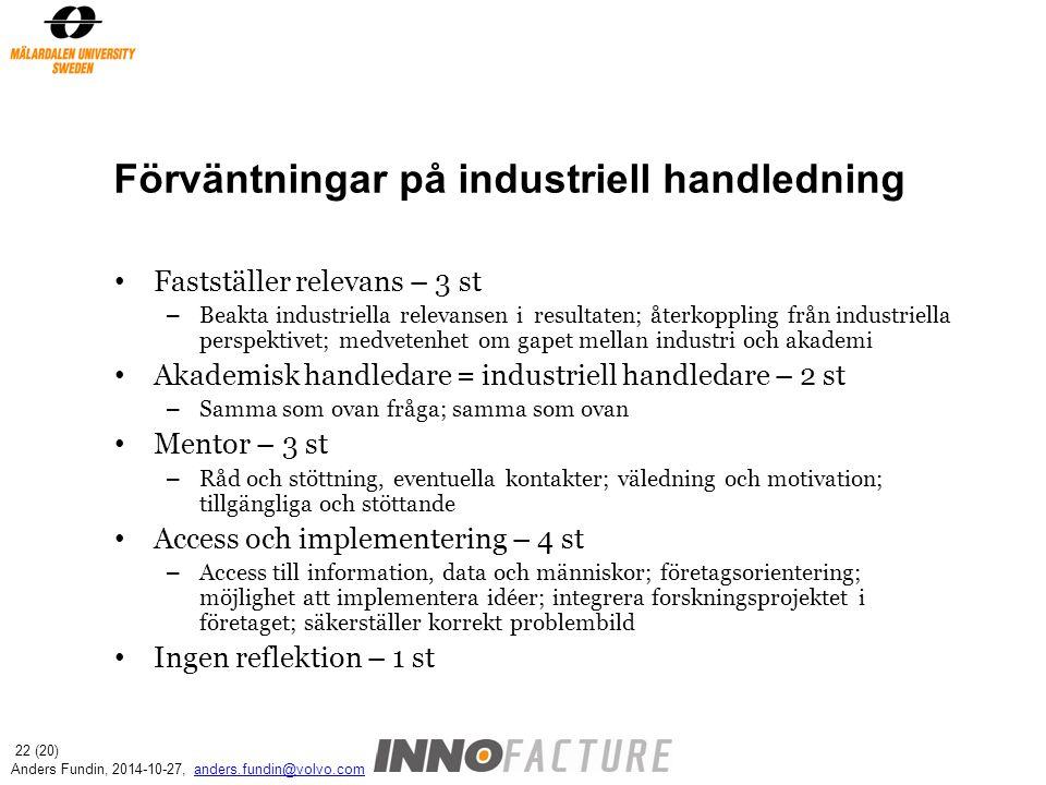 Förväntningar på industriell handledning Fastställer relevans – 3 st – Beakta industriella relevansen i resultaten; återkoppling från industriella per