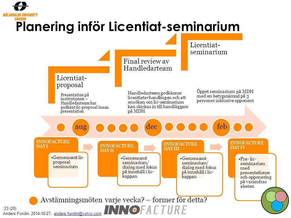 Planering inför Licentiat-seminarium aug decfeb Avstämningsmöten varje vecka.