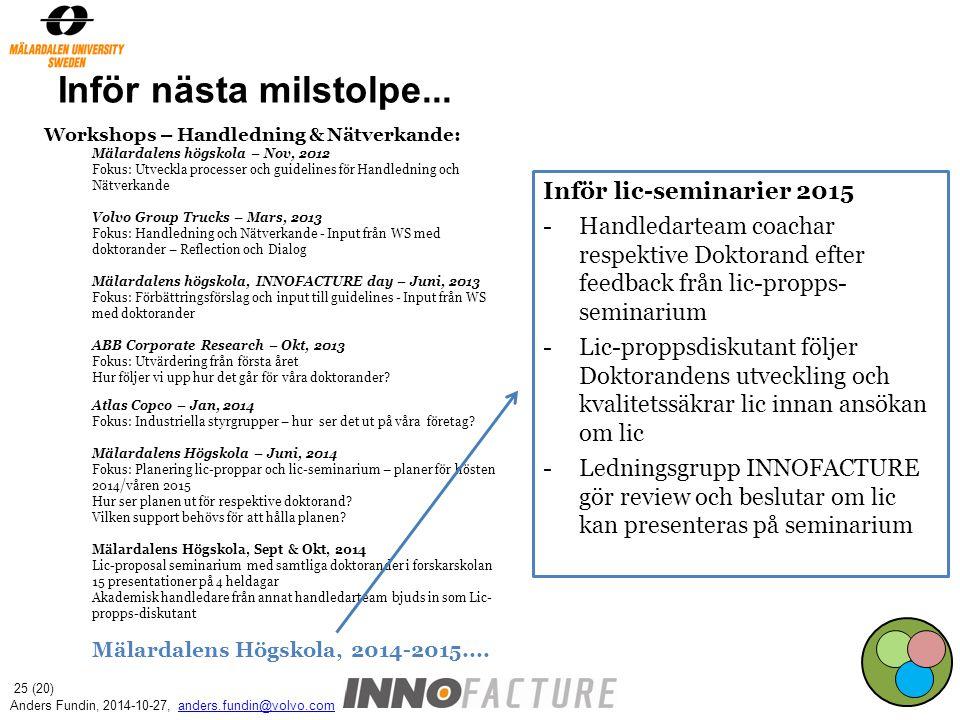 Inför nästa milstolpe... Workshops – Handledning & Nätverkande: Mälardalens högskola – Nov, 2012 Fokus: Utveckla processer och guidelines för Handledn