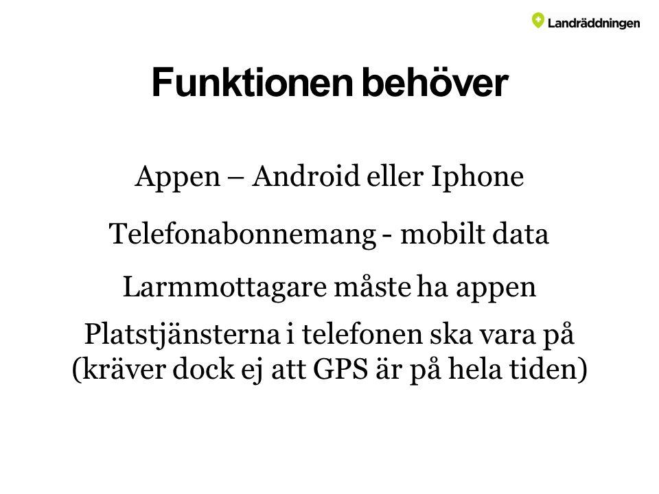 Funktionen behöver Appen – Android eller Iphone Telefonabonnemang - mobilt data Larmmottagare måste ha appen Platstjänsterna i telefonen ska vara på (kräver dock ej att GPS är på hela tiden)