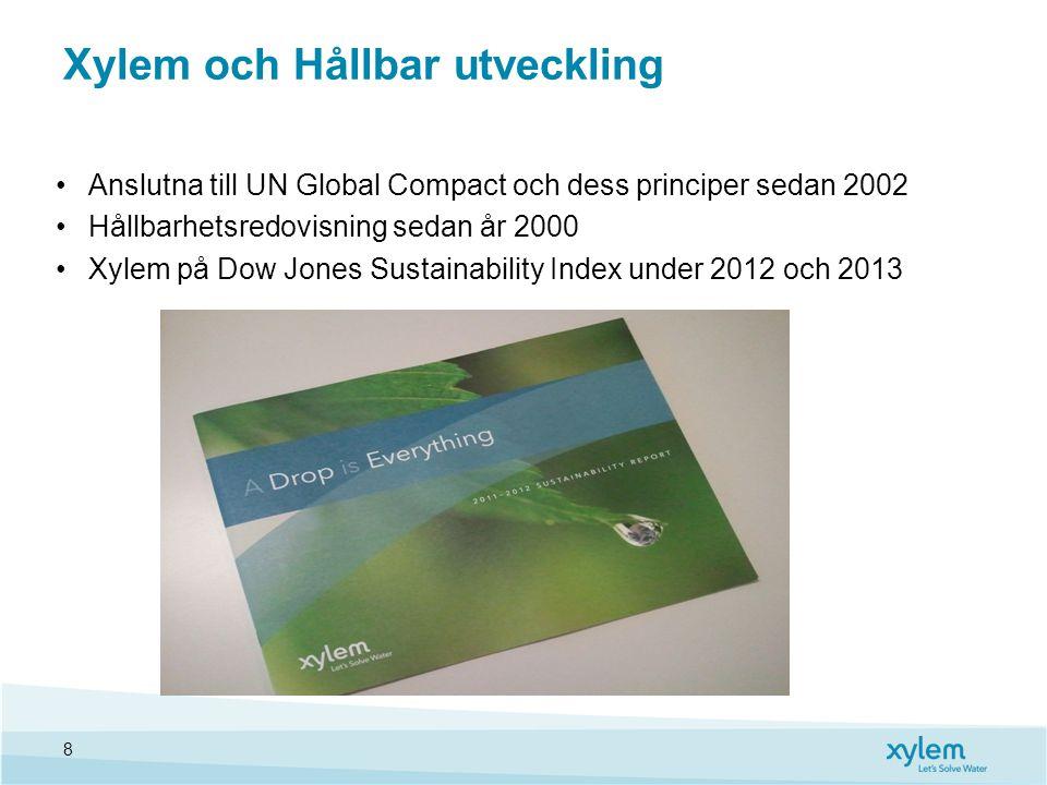 Xylem och Hållbar utveckling Anslutna till UN Global Compact och dess principer sedan 2002 Hållbarhetsredovisning sedan år 2000 Xylem på Dow Jones Sustainability Index under 2012 och 2013 8