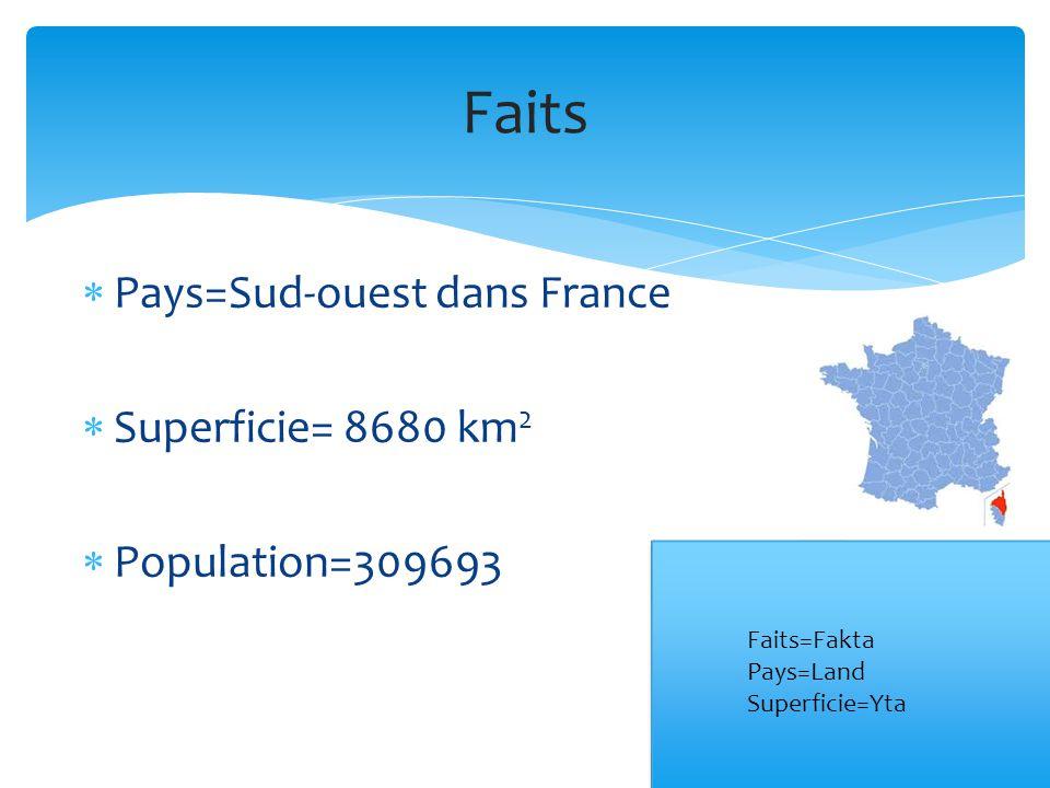 Pays=Sud-ouest dans France  Superficie= 8680 km 2  Population=309693 Faits Faits=Fakta Pays=Land Superficie=Yta