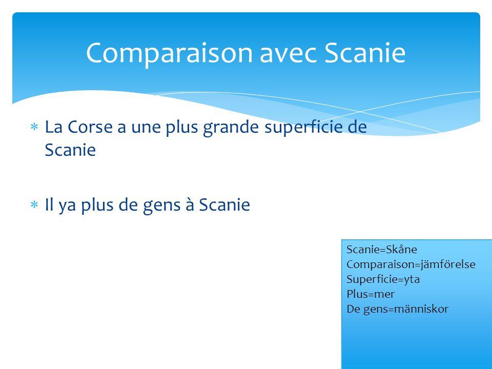  La Corse a une plus grande superficie de Scanie  Il ya plus de gens à Scanie Comparaison avec Scanie Scanie=Skåne Comparaison=jämförelse Superficie=yta Plus=mer De gens=människor