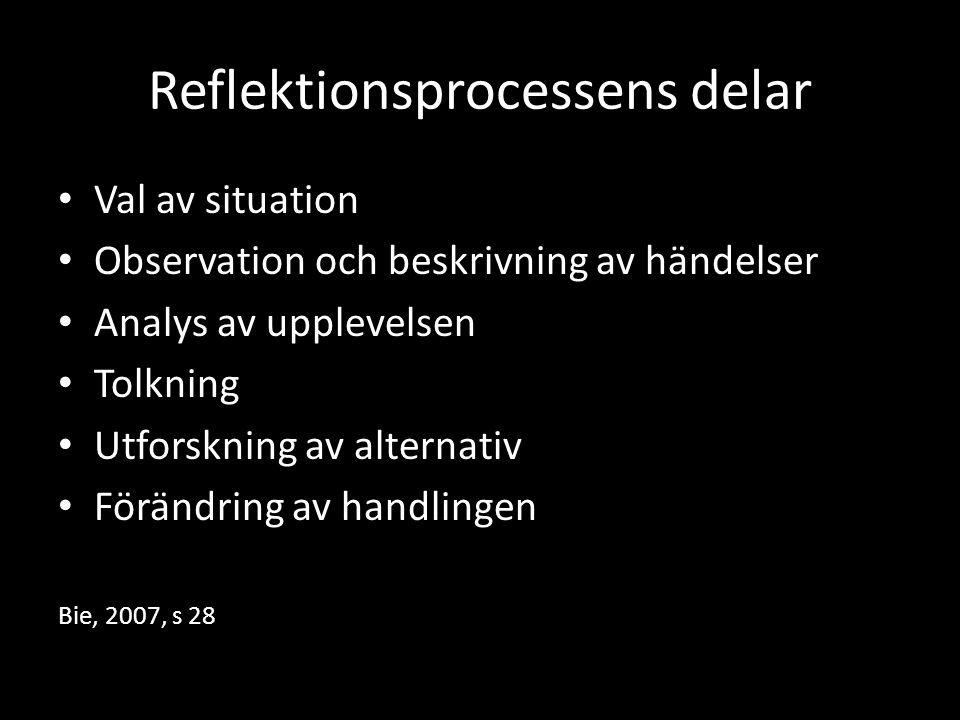 Reflektionsprocessens delar Val av situation Observation och beskrivning av händelser Analys av upplevelsen Tolkning Utforskning av alternativ Förändr