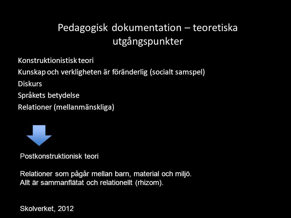 Pedagogisk dokumentation – teoretiska utgångspunkter Konstruktionistisk teori Kunskap och verkligheten är föränderlig (socialt samspel) Diskurs Språke