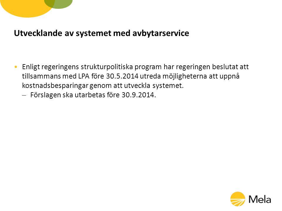 Utvecklande av systemet med avbytarservice Enligt regeringens strukturpolitiska program har regeringen beslutat att tillsammans med LPA före 30.5.2014