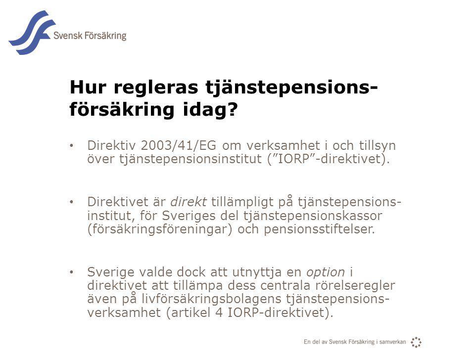 En del av svensk Försäkring i samverkan Hur regleras tjänstepensions- försäkring idag? Direktiv 2003/41/EG om verksamhet i och tillsyn över tjänstepen