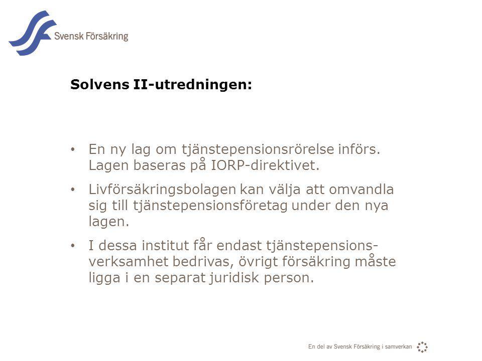 En del av svensk Försäkring i samverkan Solvens II-utredningen: En ny lag om tjänstepensionsrörelse införs. Lagen baseras på IORP-direktivet. Livförsä