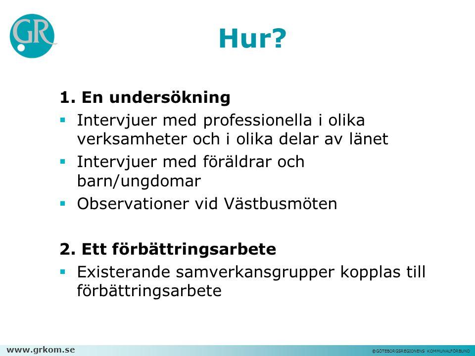 www.grkom.se ©GÖTEBORGSREGIONENS KOMMUNALFÖRBUND Hur? 1. En undersökning  Intervjuer med professionella i olika verksamheter och i olika delar av län