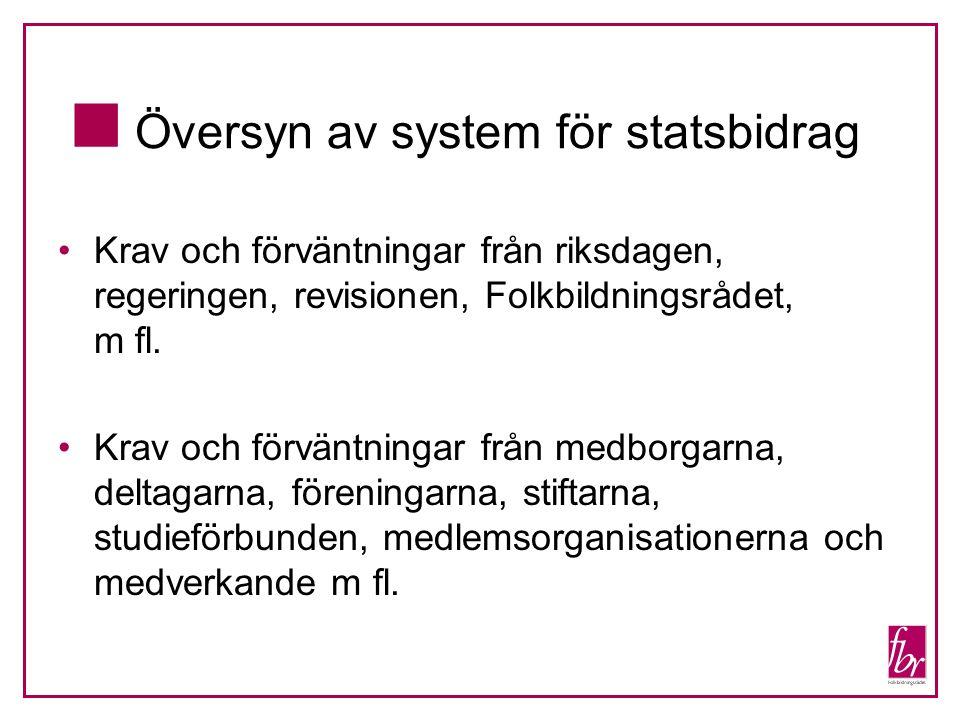 Krav och förväntningar från riksdagen, regeringen, revisionen, Folkbildningsrådet, m fl.