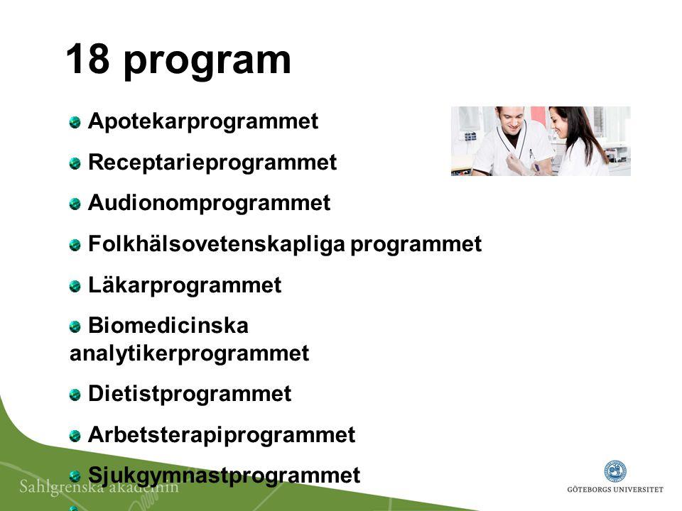 Logopedprogrammet Tandläkarprogrammet, Tandhygienistprogrammet Tandteknikerprogammet Sjukhusfysikerprogrammet Sjuksköterskeprogrammet Specialistsjuksköterskeprogrammet (10 inriktningar) Röntgensjuksköterskeprogrammet Reproduktiv och perinatal hälsa