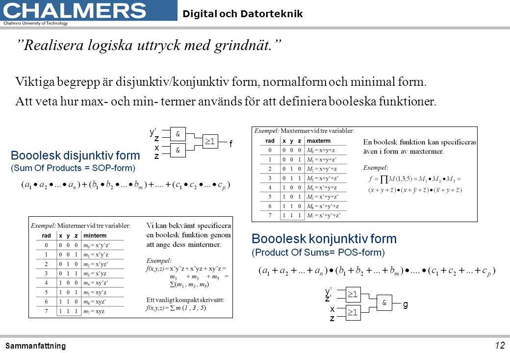 """Digital och Datorteknik 12 Sammanfattning """"Realisera logiska uttryck med grindnät."""" Viktiga begrepp är disjunktiv/konjunktiv form, normalform och mini"""