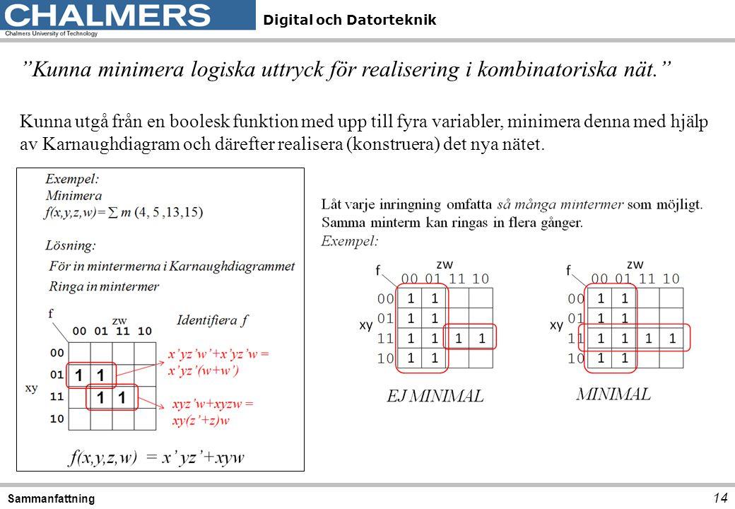 """Digital och Datorteknik 14 Sammanfattning """"Kunna minimera logiska uttryck för realisering i kombinatoriska nät."""" Kunna utgå från en boolesk funktion m"""