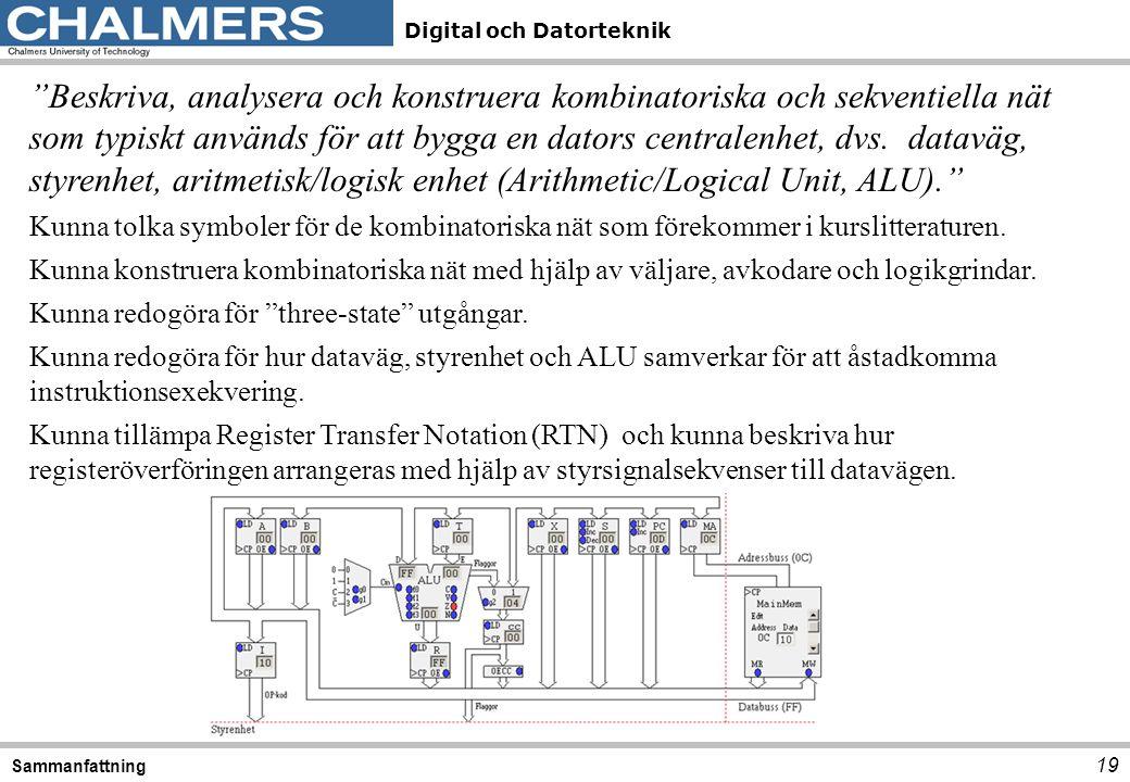 """Digital och Datorteknik 19 Sammanfattning """"Beskriva, analysera och konstruera kombinatoriska och sekventiella nät som typiskt används för att bygga en"""