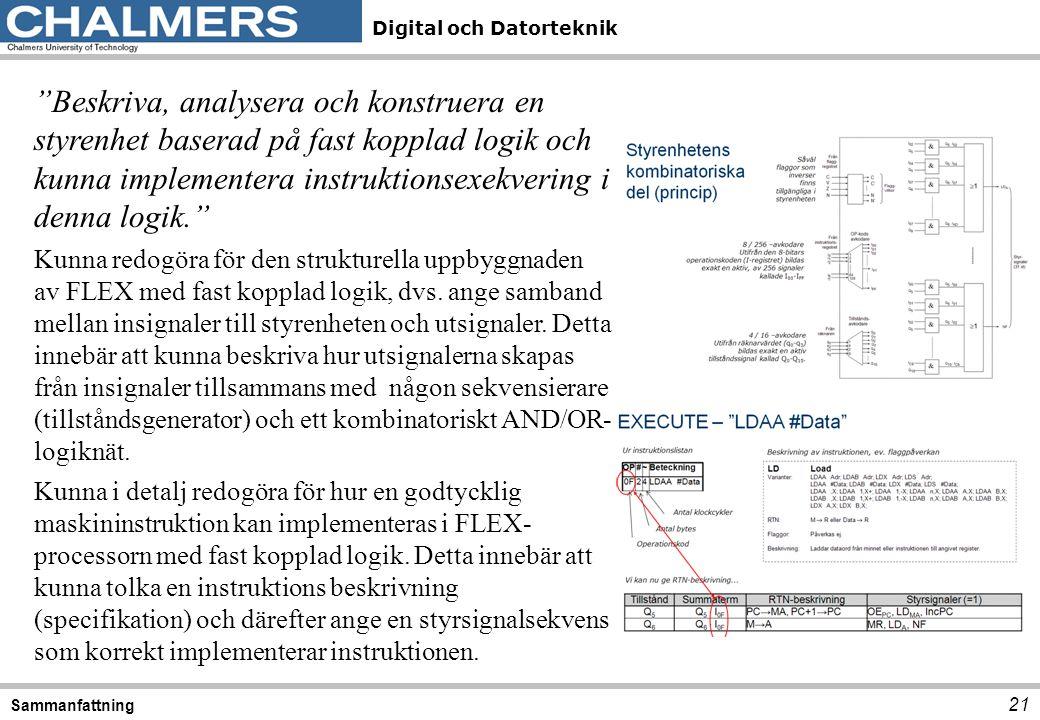"""Digital och Datorteknik 21 Sammanfattning """"Beskriva, analysera och konstruera en styrenhet baserad på fast kopplad logik och kunna implementera instru"""