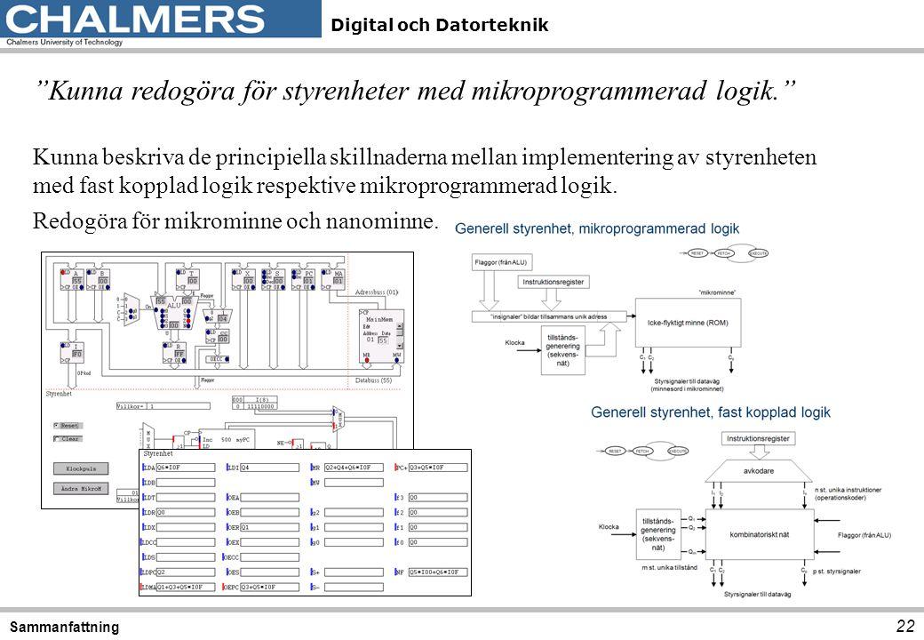 """Digital och Datorteknik 22 Sammanfattning """"Kunna redogöra för styrenheter med mikroprogrammerad logik."""" Kunna beskriva de principiella skillnaderna me"""