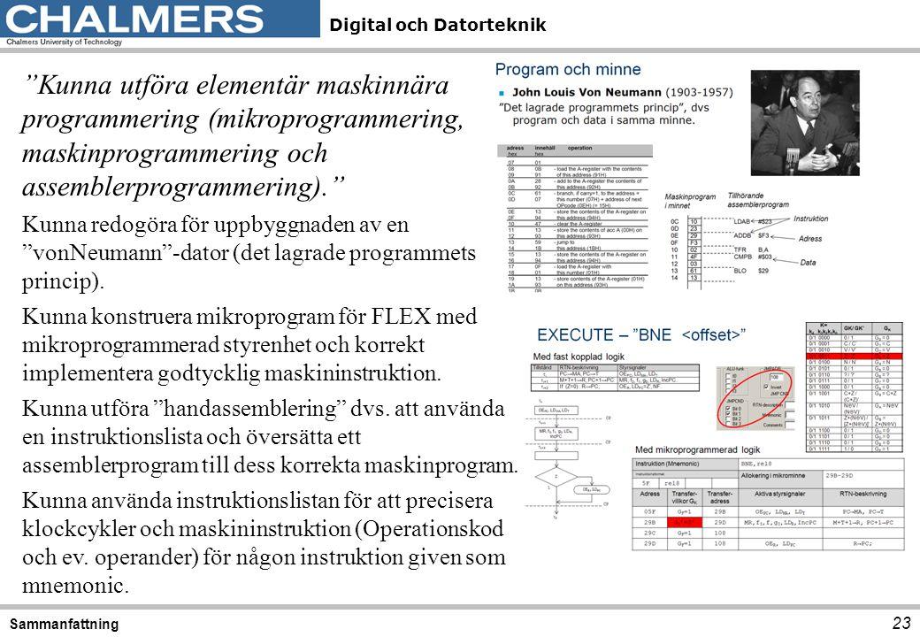 """Digital och Datorteknik 23 Sammanfattning """"Kunna utföra elementär maskinnära programmering (mikroprogrammering, maskinprogrammering och assemblerprogr"""