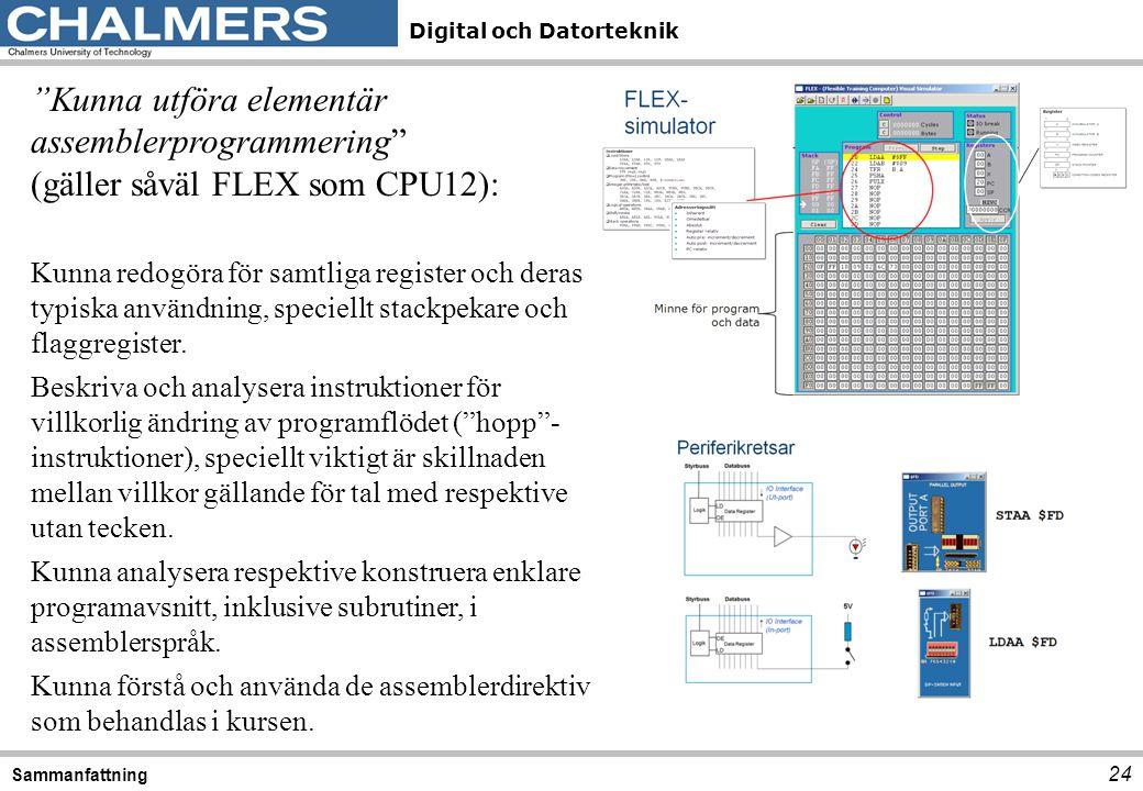 """Digital och Datorteknik 24 Sammanfattning """"Kunna utföra elementär assemblerprogrammering"""" (gäller såväl FLEX som CPU12): Kunna redogöra för samtliga r"""